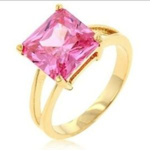 Gold Pink CZ Cocktail Ring Size 9 10 Princess Cut